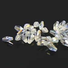40pcs Swarovski  4x8mm Long Bicone Crystal beads E Clear AB