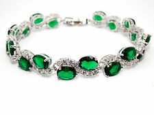 Silver Emerald And White Topaz 30.6ct Bracelet