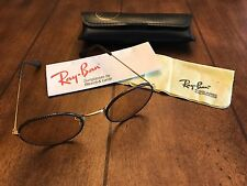 RAY BAN VINTAGE Authentic Sunglasses Round Snakeskin Leather Brown/tan