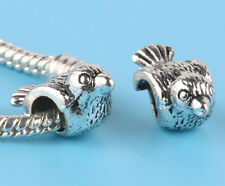 2pcs Tibetan silver Birds Charm Spacer beads fit European Bracelet Chain #T17