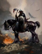 POSTER DEATH DEALER FANTASY CAVALIERE VICHINGO KNIGHT VIKING FRANK FRAZETTA #1