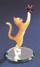 Glass Baron ~Tabby Cat chasing Crystal Butterfly Figurine  ~  New in Box