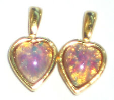 #1443Q Vintage Charms Pink Fire Opal Harlequin Dangles Drops Glass Hearts Heart