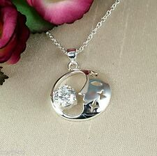 N5 Silver Plated and Clear Crystal Moon and Stars Pendant Necklace - Gift Boxed