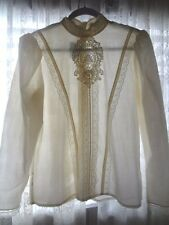 VTG 70s GUNNE SAX Ivory Lace Edwardian Style High Collar Victorian Blouse