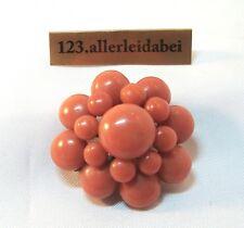 Rarität große alte Korallen Brosche Koralle Silber old coral brooch / AU 403