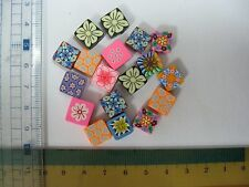 Craft poly clay beads, sew on charm beads, trimming beads square shape 10pcs mix