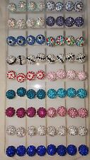 Joblot of 36 Pairs Shamballa Disco Ball stud Earrings 10 mm - NEW Wholesale