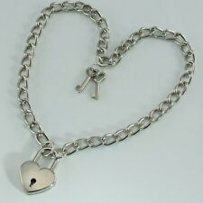 "Heart Padlock Lock Pendant Charm 19.5"" Choker Necklace (Silver Color) New"