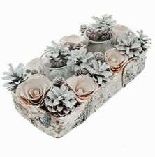 White Pinecone Table Centre Piece/Decoration with 2 Candle Holders For Wedding