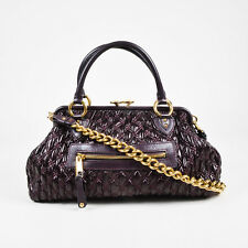 "Marc Jacobs Dark Purple Leather Quilted Gold Tone Chain Link ""Stam"" Satchel Bag"