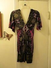 Jagger  -  Cross Over Low Cut 100% Silk Mini Dress w/adornment  -  Size XS