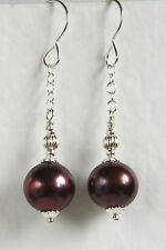 Fab EARRINGS STERLING SILVER 925 Large 10mm Purple FRESH WATER PEARL Handmade