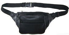 Leather Black Fanny Pack Kids Waist Belt Bag Purse Hip Pouch Travel AG Wallets