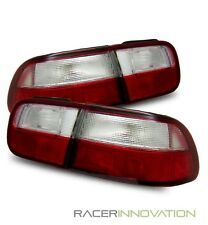For 92-95 Honda Civic EG 2/4DR Coupe/Sedan JDM Red Clear Tail Lights Brake Lamp