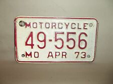 VINTAGE APRIL 1973 MISSOURI MOTORCYCLE LICENSE PLATE 49-556