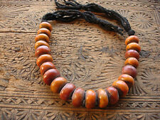 Moroccan large tarnished matt amber resin bead necklace