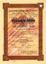 Zuckerfabrik Brakel Kreis Höxter AG hist. Vorzugs Aktie 1923 Zucker + Ziegel