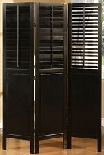 3 Panel Solid Wood Screen Room Divider Blinds Shades Shutters Espresso