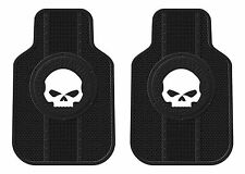 PAIR Harley Davidson Willie G Skull Front Floor Mats Black New Free Shipping USA