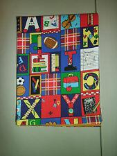 1-Colorful All About School Print Standard Size Cotton Pillowcase New & Handmade