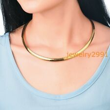 6mm Womens Neck Chain Stainless Steel Gold Choker Collar Necklace 18inch
