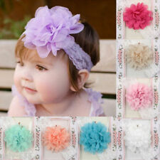 5PCS New Baby Infant Girl Toddler Chiffon Elastic Lace Flower Headband Hair Band