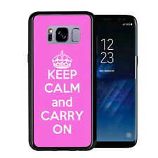Pink Keep Calm and Carry On For Samsung Galaxy S8 2017 Case Cover by Atomic Mark