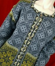 Dale Norway S Cardigan Sweater Fair Isle Nordic L/S Square Neck Snowflake