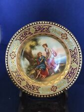 ROYAL VIENNA BEEHIVE UNDER GLAZE MARK RARE MINIATURE HAND PAINTED SCENIC PLATE
