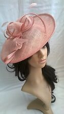 NEW CANDY PINK SINAMAY & FEATHER FASCINATOR HAT.Shaped saucer disc,Wedding.