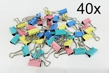 *40 X 20MM MINI FOLDBACK BINDER BULLDOG PAPER FILING CLIPS ASSORTED COLOURS