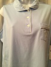 Womens Ralph Lauren Light Blue 100% Cotton Knit Sleeveless  Pajamas  Sz L