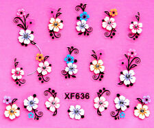 Nail Art 3D Decal Stickers Colorful Flowers with Rhinestones XF636