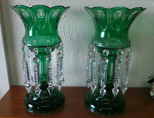 VINTAGE PAIR OF CZECH BOHEMIAN GREEN MANTLE LUSTERS