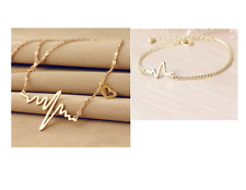EKG HEARTBEAT NECKLACE  BRACELET SET Electrocardiogram Heart Rhythm US SELLER