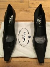 Prada Black Leather Heels Shoes EU 39 UK 6 7 US 8.5 9 New NWOB