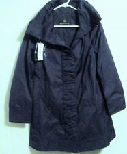 NWT RAINFOREST Womens Ruched Front Rain Jacket/Coat W/Hidden Hood Cobalt Blue S