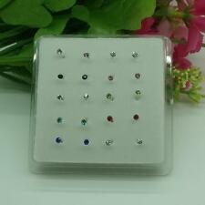 Wholesale 20pcs  LF Plating 925 Silver Colourful Crystal Nose Piercing Stud