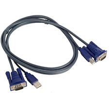 USB 2.0 PC Monitor 15-Pin Standard VGA SVGA Adapter Cable/Cord for KVM Switch