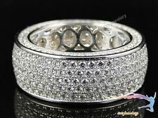 Men's 10K White Gold Pave Iced Out Round Diamond Wedding Pinky Ring Band 3.50 CT