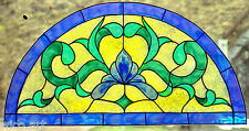 WICOART WINDOW COLOR STICKER CLING FAUX STAINED GLASS DEMI CERCLE 28X14 ART DECO