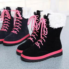 Sale Womens Girl Winter Snow Boots Faux Suede Shoes Lace UP Block Heel Blue 7.5