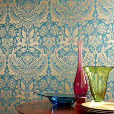 Graham & Brown Desire Damask Teal Gold Metallic Luxury Wallpaper 50-028