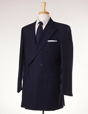 NWT $2800 GIEVES & HAWKES Navy Blue Herringbone DB Wool Suit 42 L Handmade