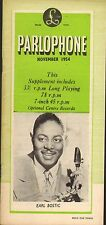 PARLOPHONE RECORD CATALOGUE SUPPLEMENT 1954 11 november earl bostic/ron goodwin