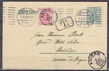 DEUTSCHES REICH 1910 DR Karte Hamburg Antwerpen Nachporto Germania