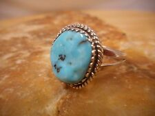 Ring Native American Sterling Silver Turquoise By Navajo Charlie Bowie Size 9