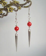 Bright Red Pearl Bead Silver Spike Long Dangly Drop Earrings