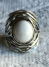 NWT OR PAZ CREATIONS OVAL WHITE AGATE STERLING SILVER RING SZ 8 MADE ISRAEL